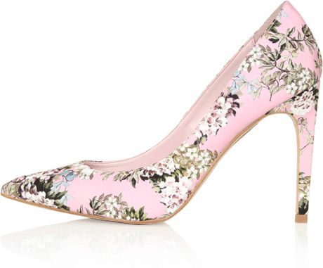 topshop floral print high shoes in pink lyst