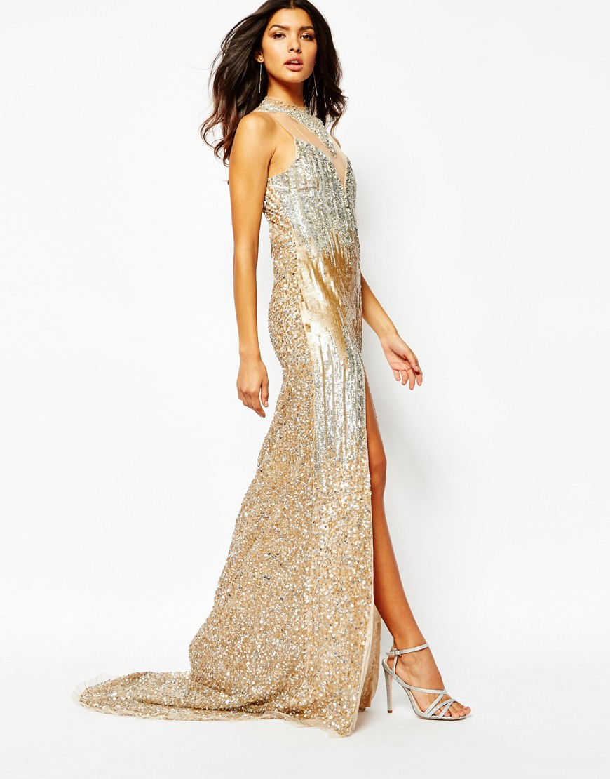 a7474aa7cba A Star Is Born Embellished Crepe Maxi Dress in Metallic - Lyst