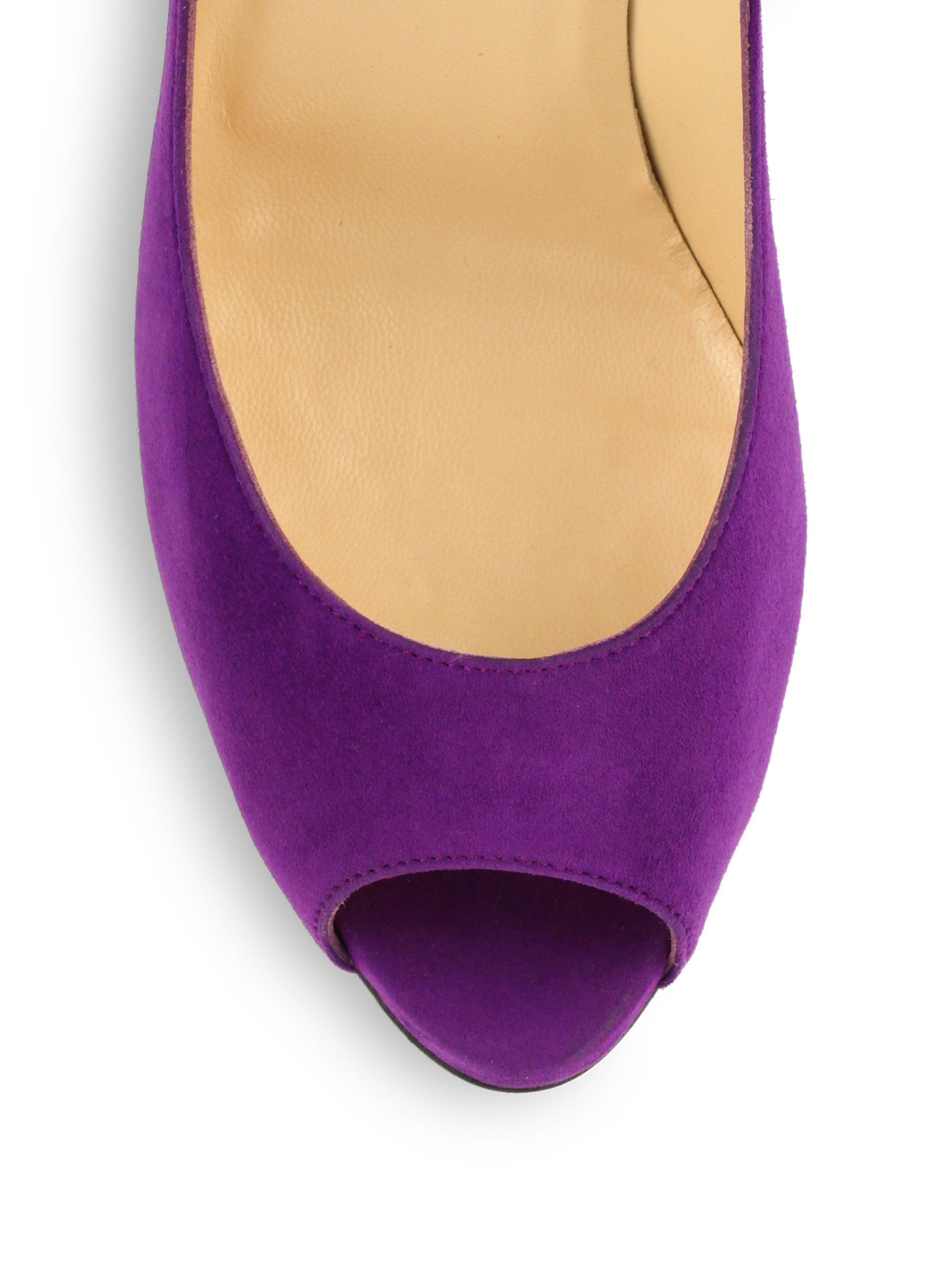 6818c38c592b Lyst - Christian Louboutin Flo Suede Peeptoe Pumps in Purple