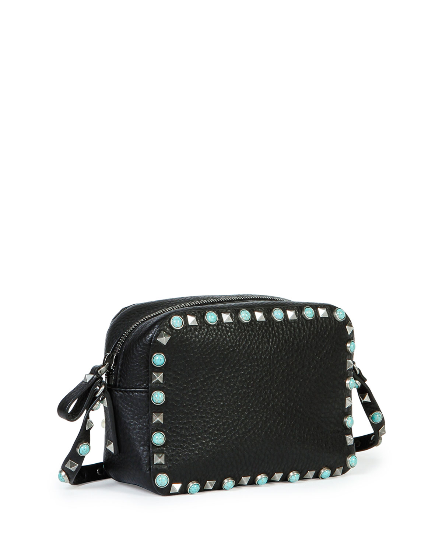 dee64349c0d3 Lyst - Valentino Rockstud Studded Cross-Body Bag in Black