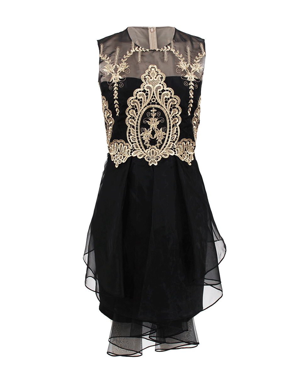 Lyst Notte By Marchesa Sleeveless Gold Lace Cocktail