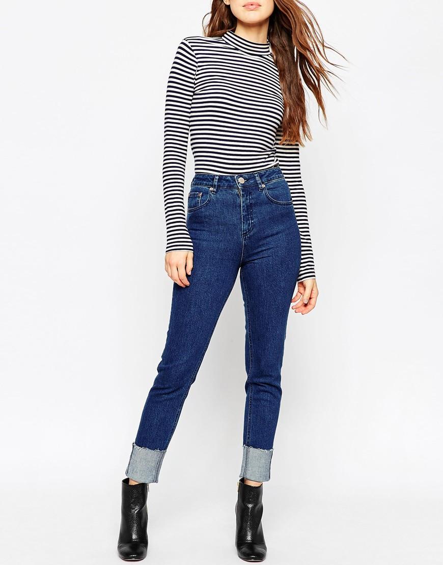 asos farleigh slim mom jeans in flat blue dancer wash with. Black Bedroom Furniture Sets. Home Design Ideas