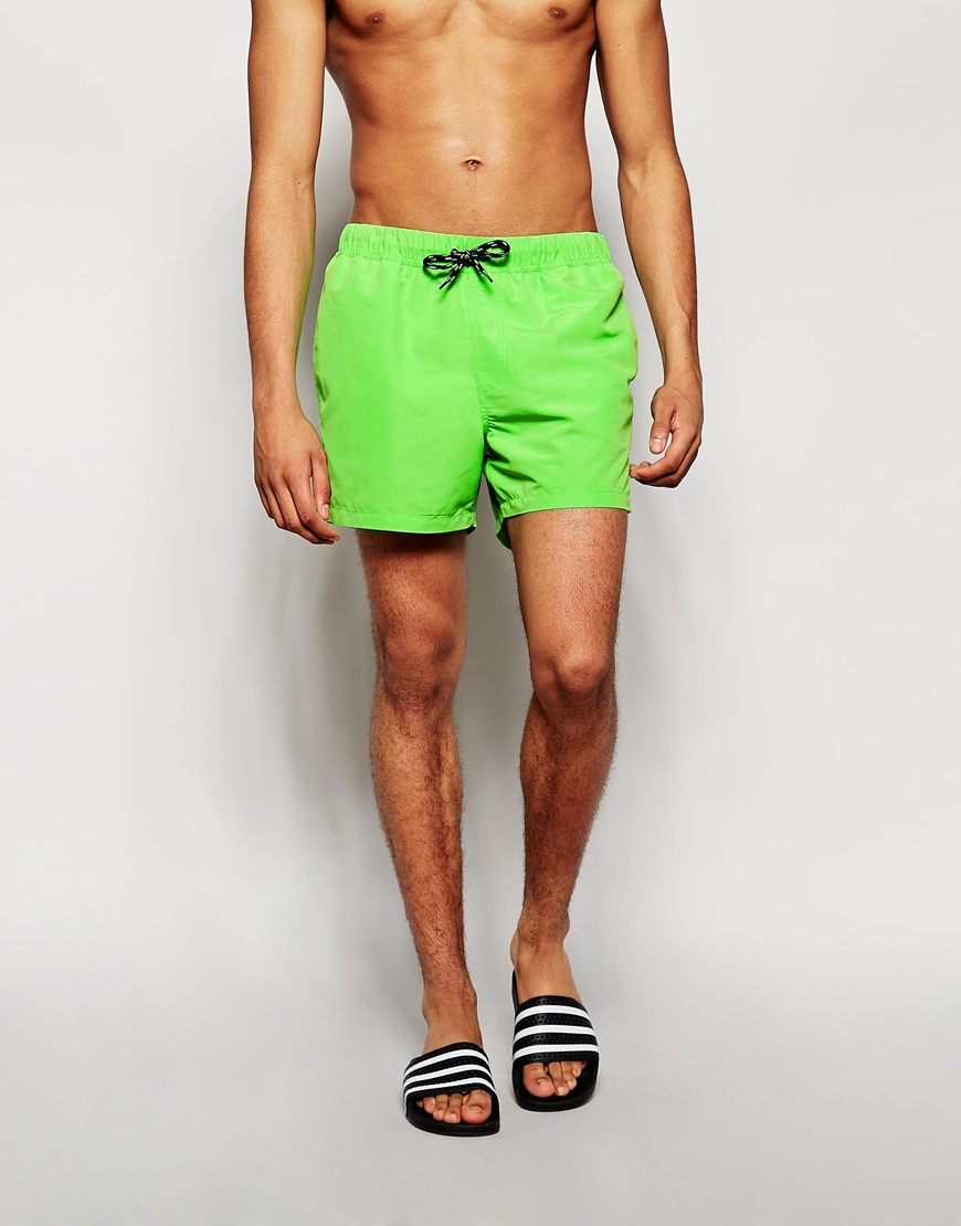 fb91fc458d ASOS Swim Shorts In Short Length in Green for Men - Lyst
