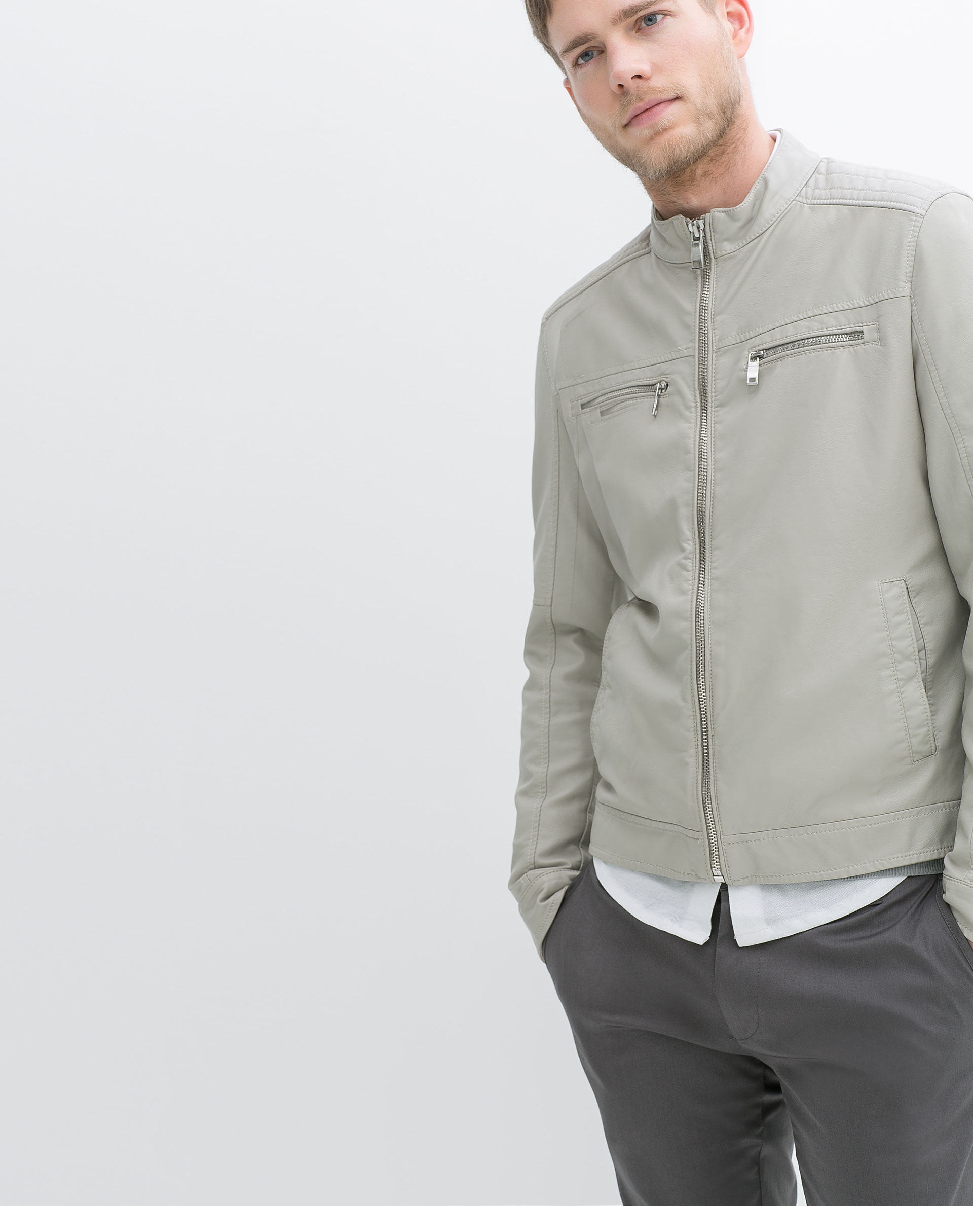 Zara Faux Leather Jacket With Padded Shoulders In Gray For