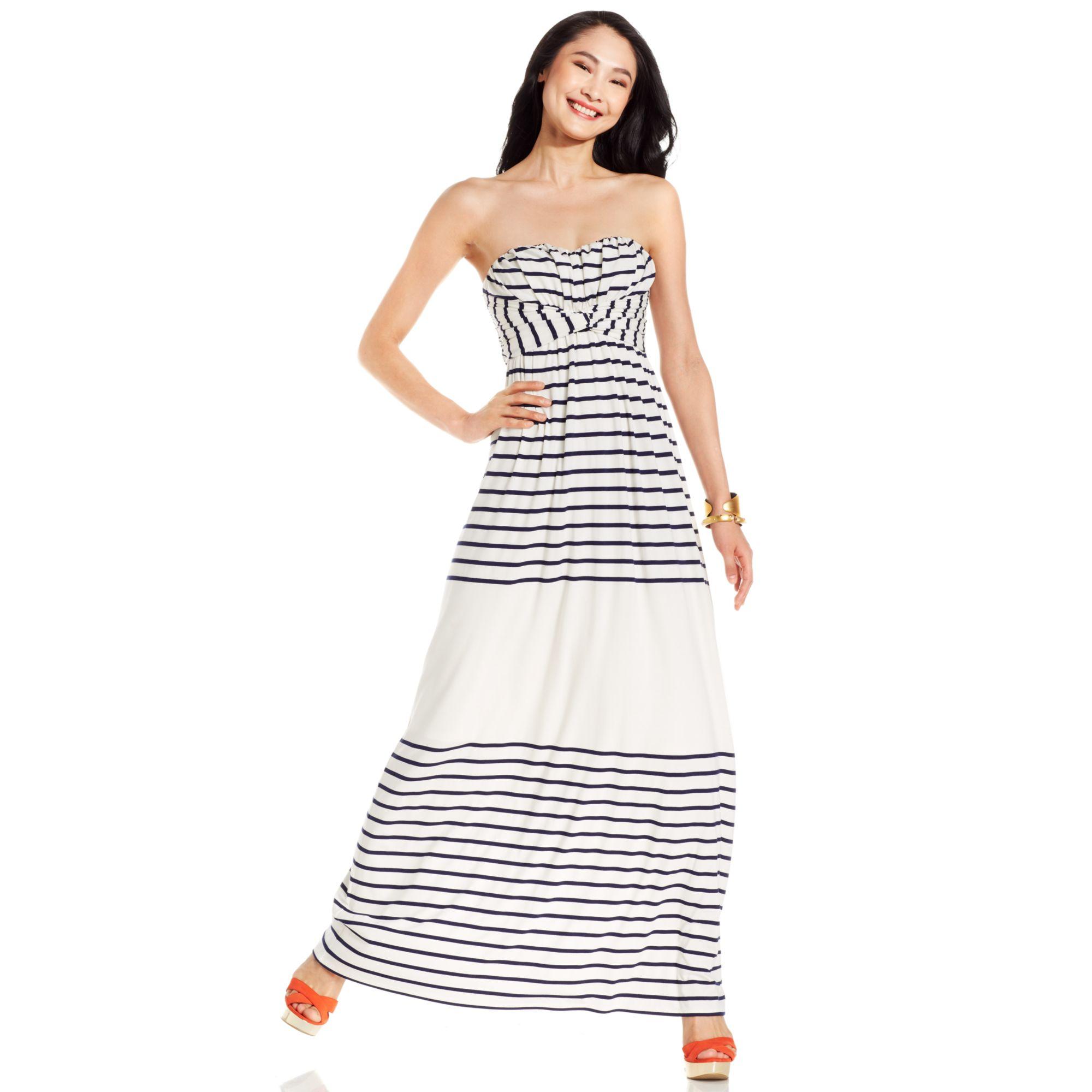 f63e4ea8200c9 Jessica Simpson Dress Strapless Striped Maxi in White - Lyst