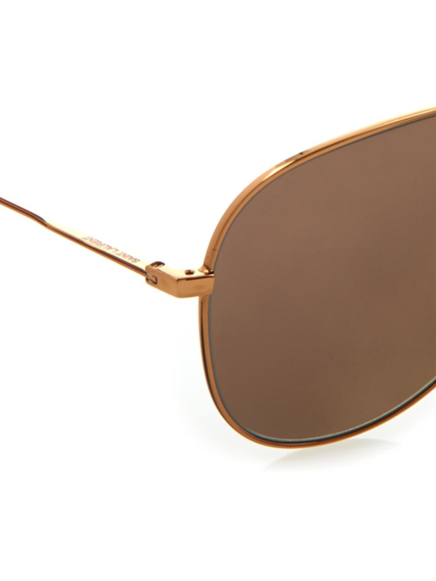 04aa240aa5d9 Saint Laurent Metal-Frame Aviator-Style Sunglasses in Metallic - Lyst