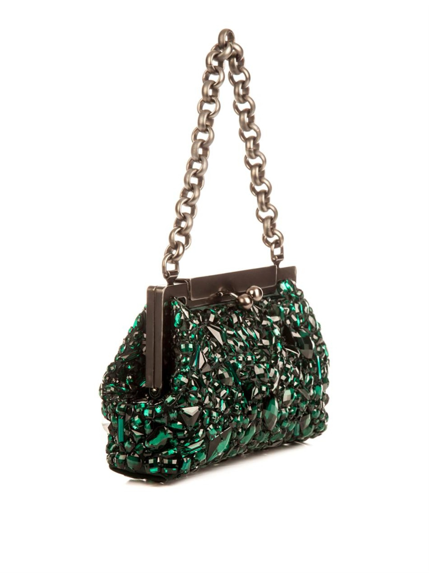 Lyst - Dolce   Gabbana Sara Crystal-Embellished Bag in Green 443673e4dbea8