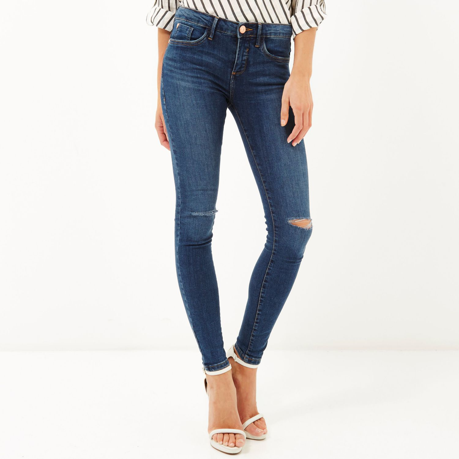 River Island Mid Wash Amelie Superskinny Jeans In Blue Lyst