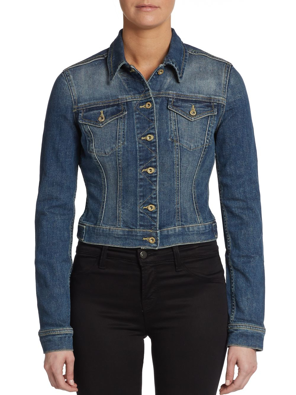 French connection Fitted Cropped Denim Jacket in Blue | Lyst