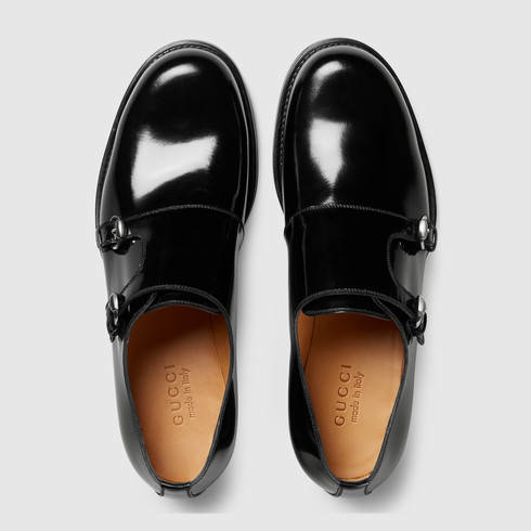 Gucci Shiny Leather Monk Strap Shoe In Black For Men Lyst