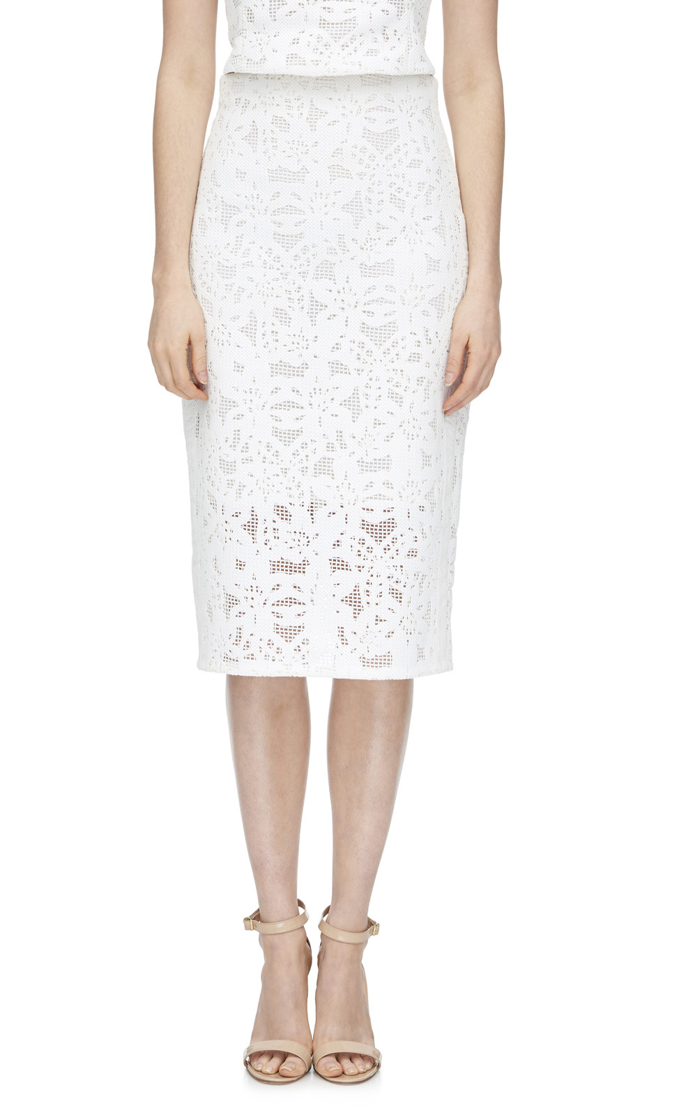 die cut pencil skirt in white lyst