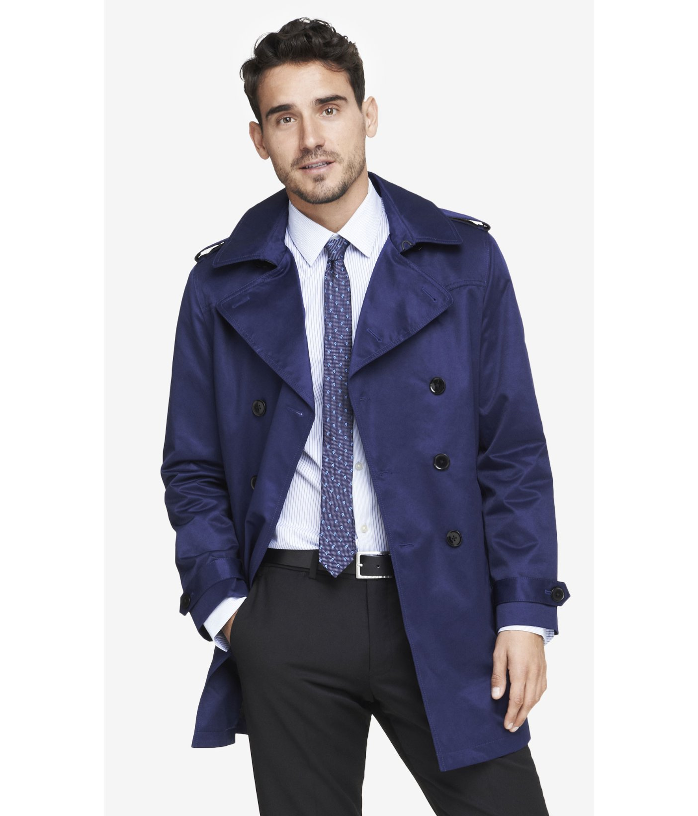 Express Navy Belted Trench Coat in Blue for Men | Lyst