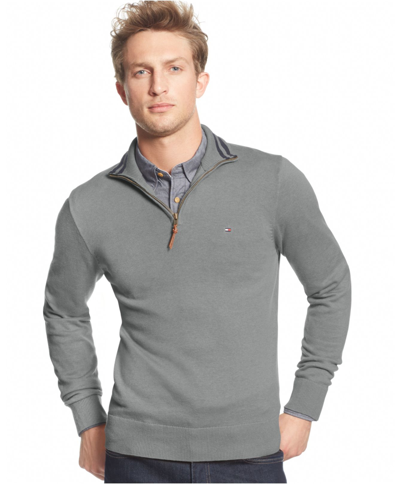 Tommy hilfiger Signature Solid Quarter-zip Sweater in Gray for Men ...