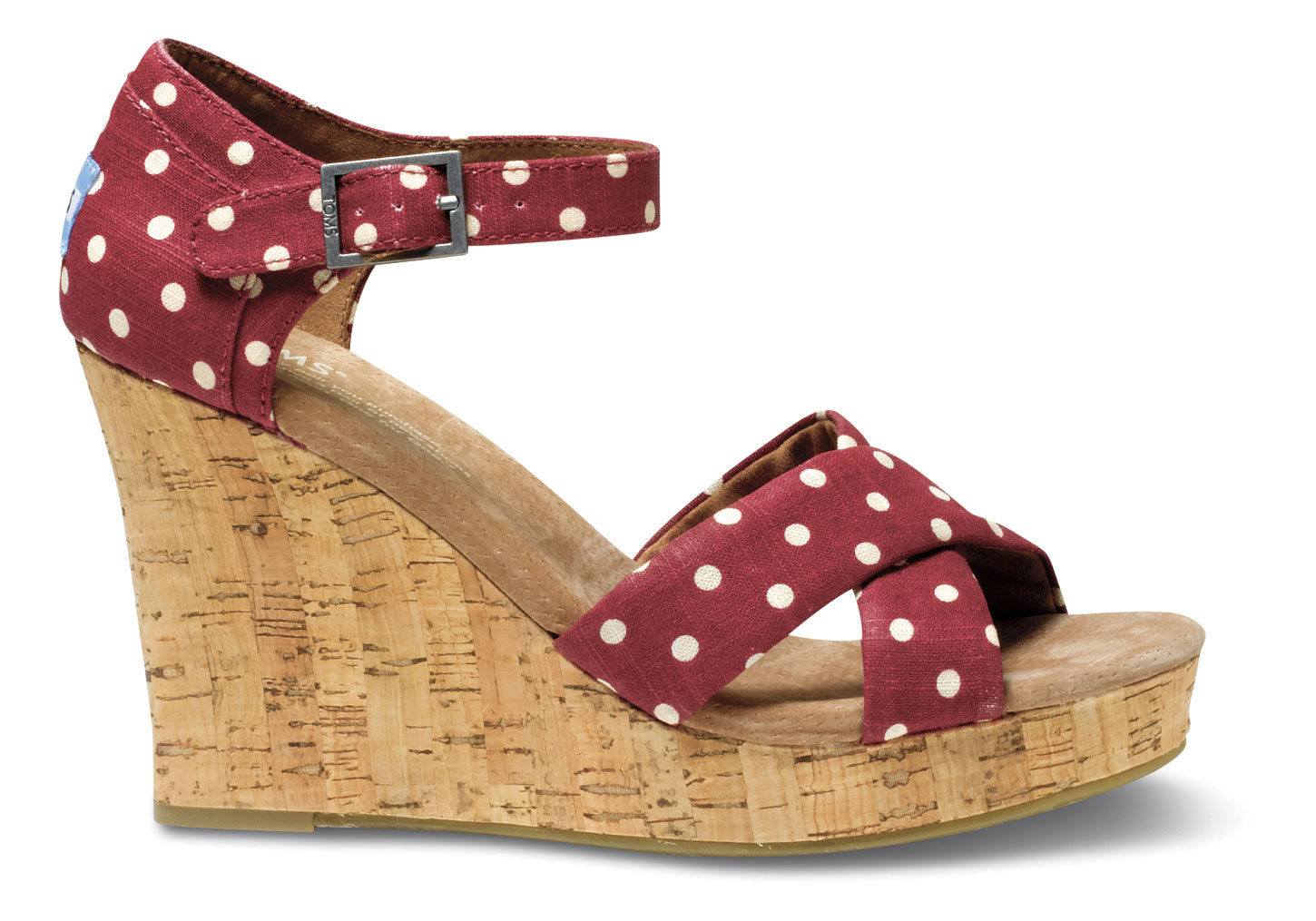 toms polka dot linen womens strappy wedges in lyst