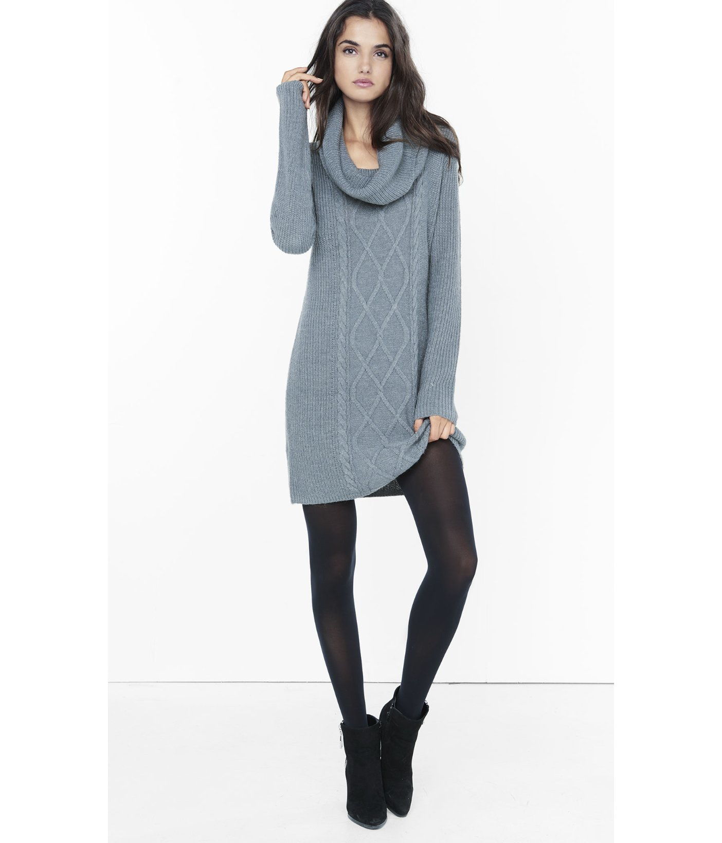 fd6acff527 Express Gray Cowl Neck Cable Knit Sweater Dress in Gray - Lyst