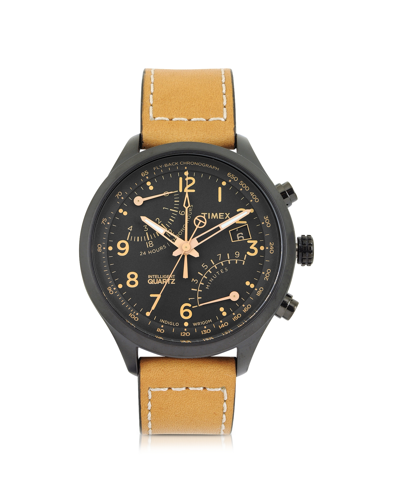 Timex fly back chrono black stainless steel case and tan leather strap men 39 s watch in black for for Black tan watch