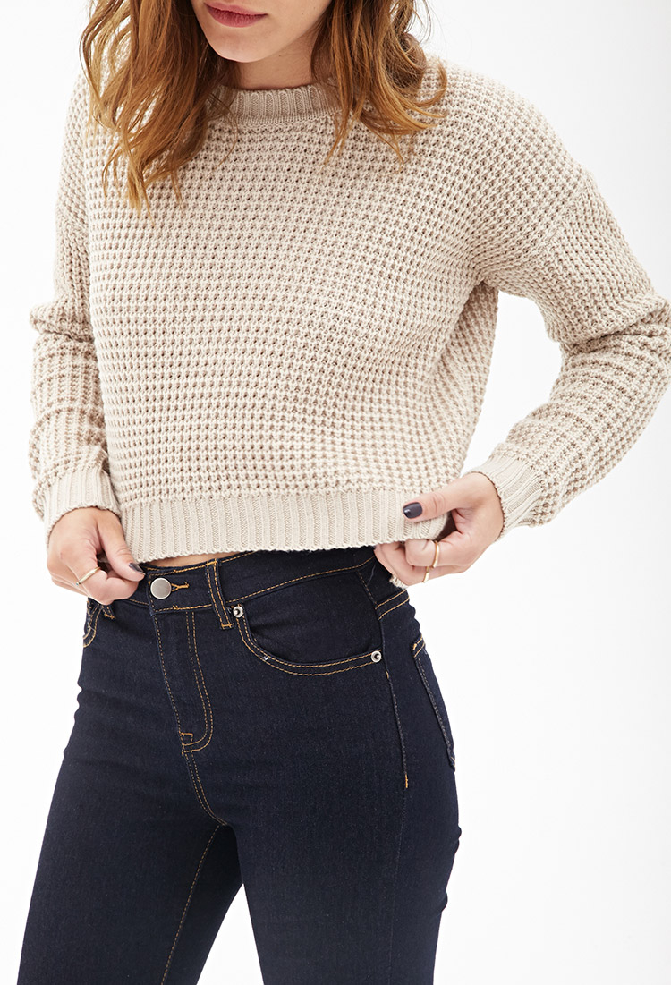 d4ec533f38 Lyst - Forever 21 Cropped Waffle Knit Sweater in Natural