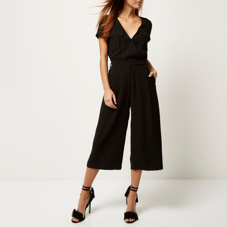 River island Black Smart Minimal Culotte Jumpsuit in Black | Lyst