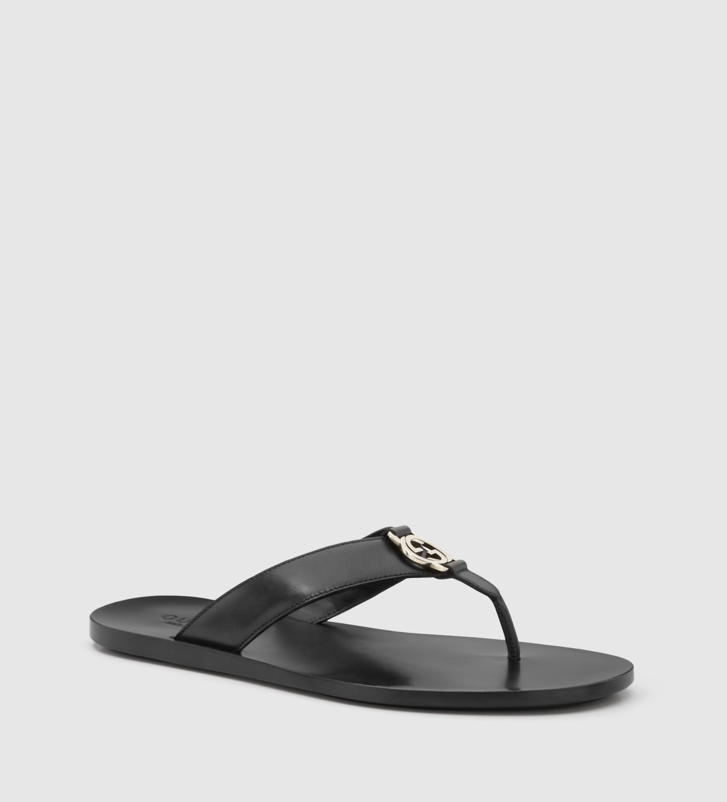e4dc5ca0ea1 Lyst - Gucci Black Leather Thong Sandal in Black