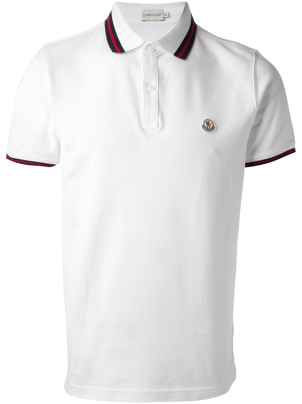 moncler striped trim polo shirt in white for men lyst. Black Bedroom Furniture Sets. Home Design Ideas
