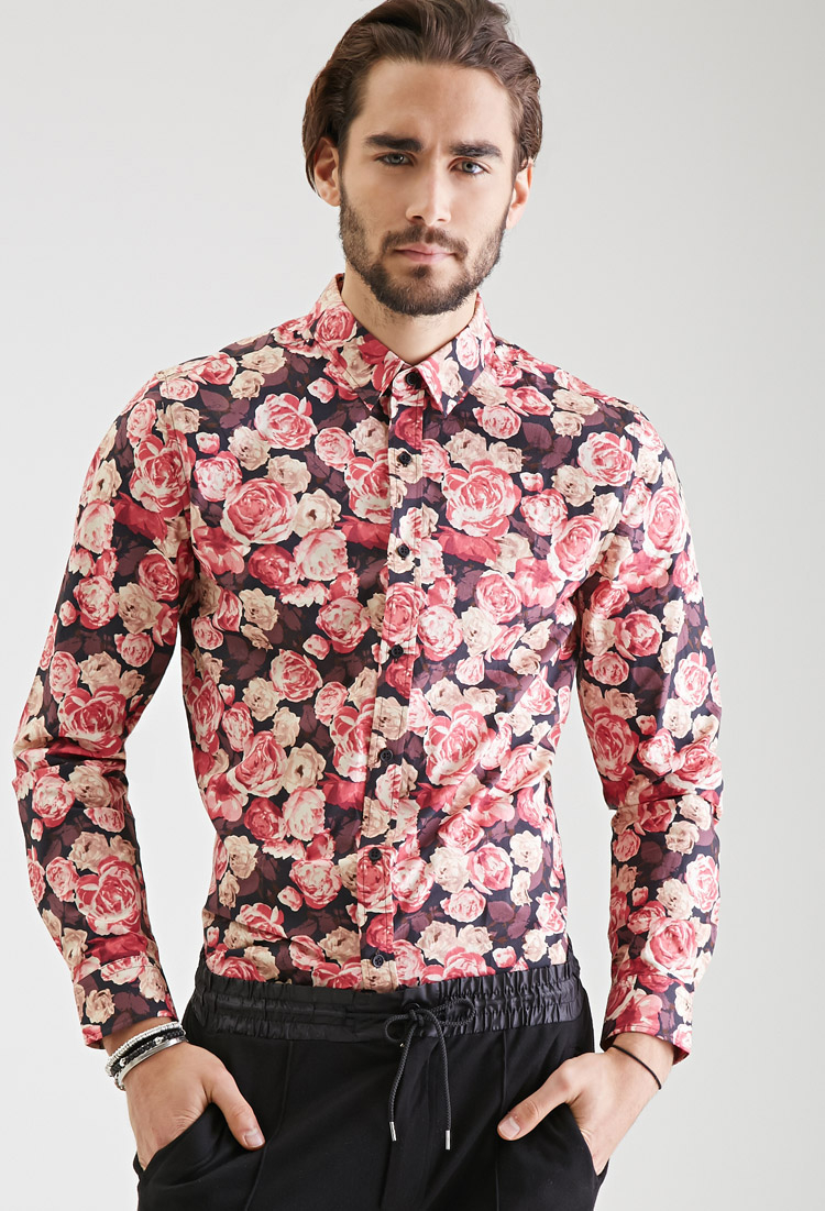 Forever 21 Floral Print Collared Shirt in Black for Men | Lyst