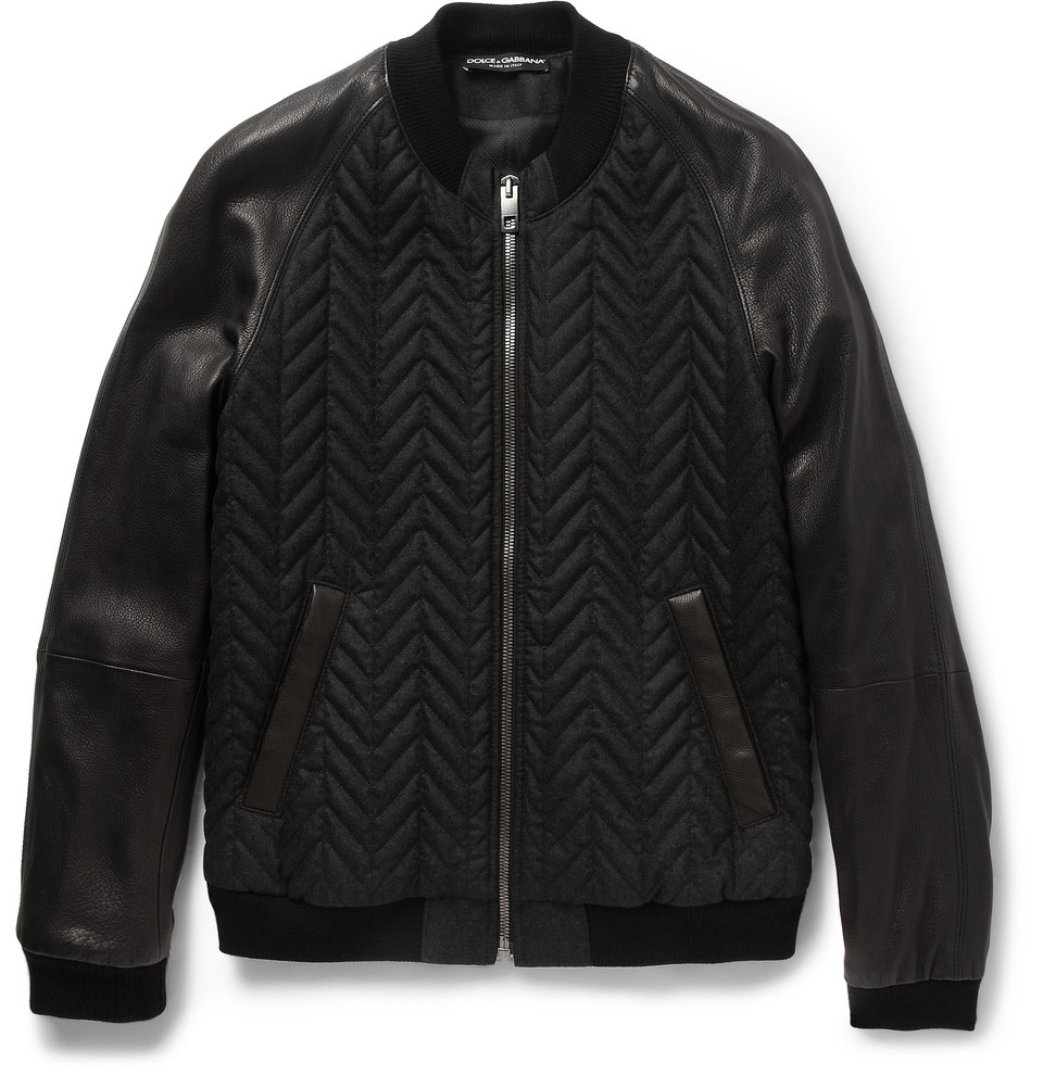 Dolce Amp Gabbana Quilted Bomber Jacket In Black For Men Lyst