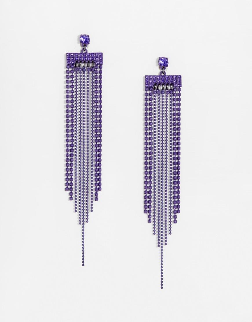 Lipsy Statement Fringe Earrings in Purple   Lyst