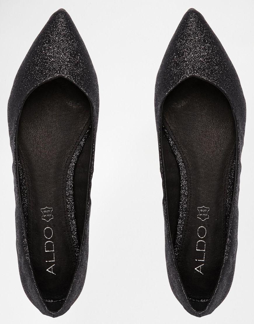 23e8a9250502 Lyst - ALDO Waelle Black Glitter Ballerina Flat Shoes in Black