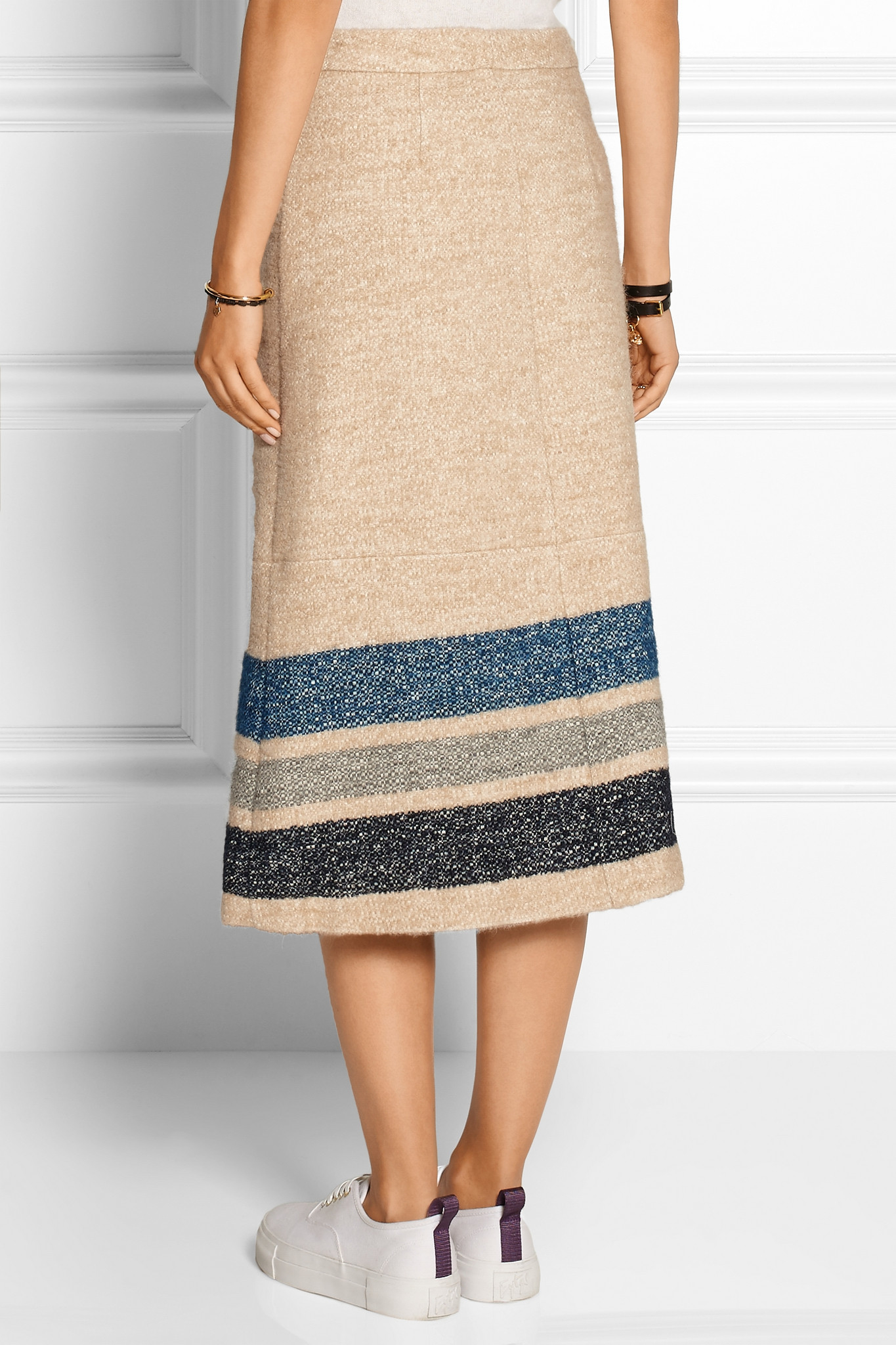sea striped silk and wool blend midi skirt in lyst