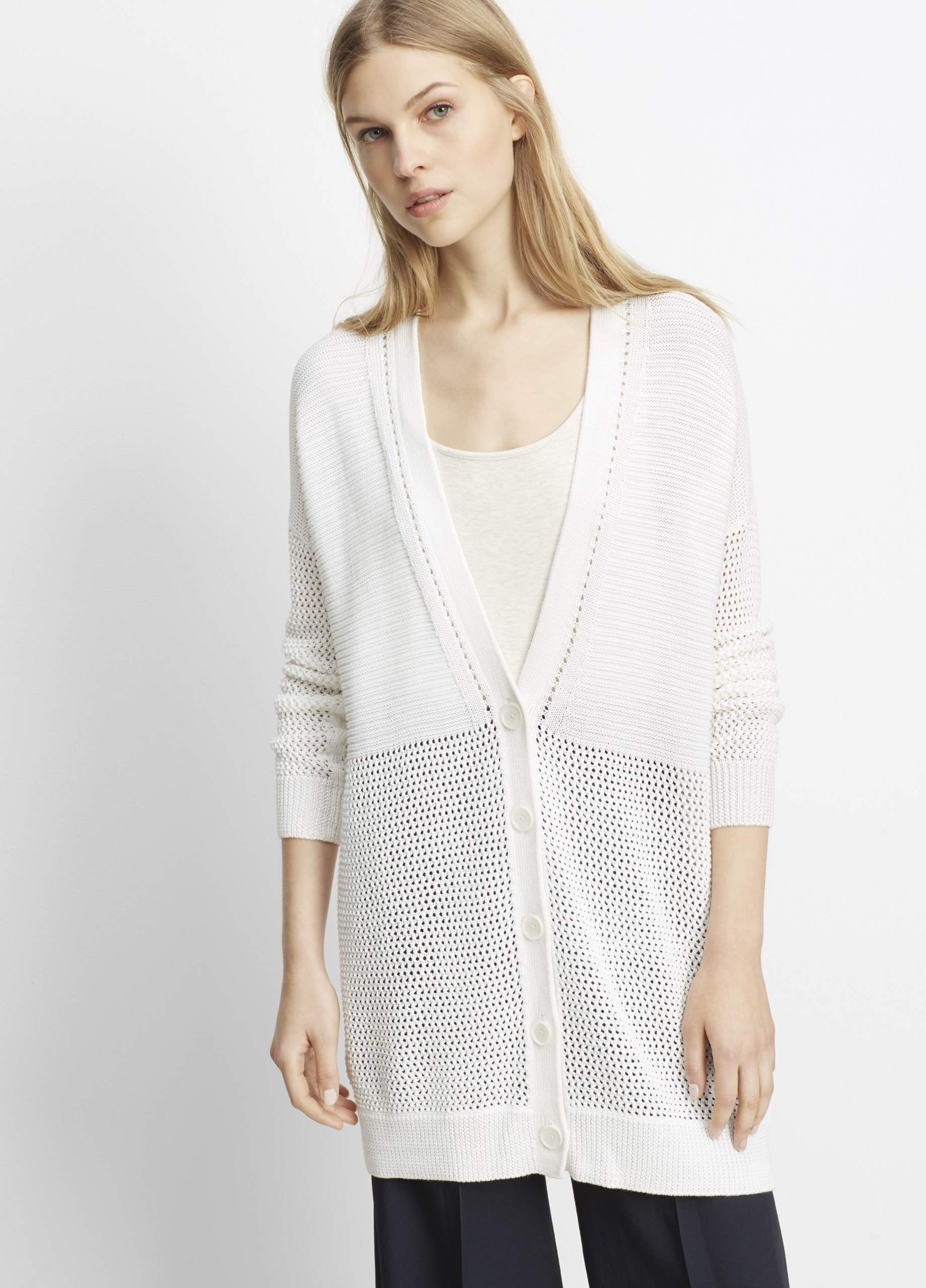 Vince Mixed Stitch Long Cardigan in White | Lyst