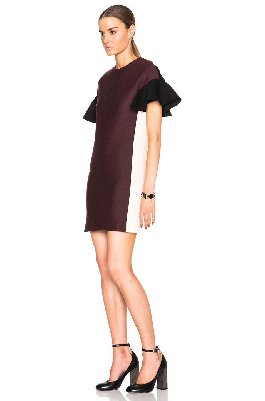 Marni Wool Cotton Ruffle Sleeve Tunic Dress in Purple
