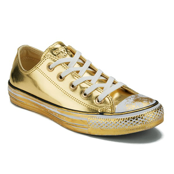 33361ec0676b Converse Women s Chuck Taylor All Star Chrome Leather Ox Trainers in  Metallic - Lyst
