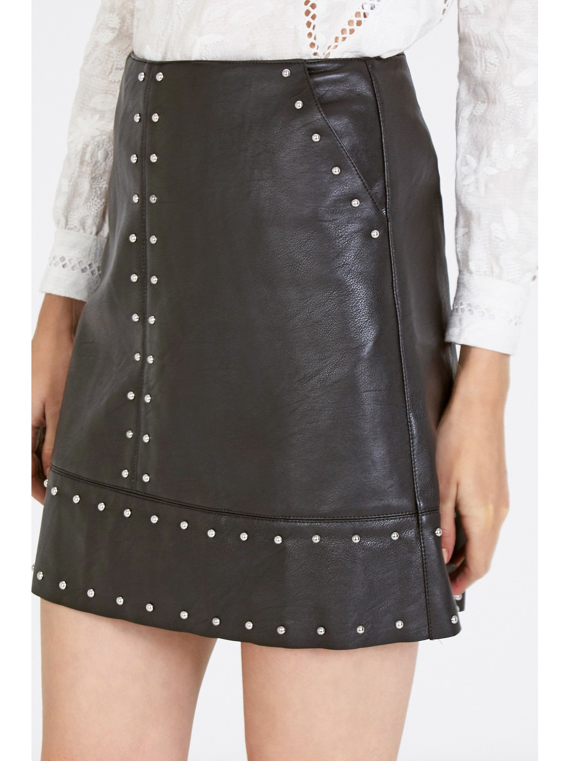 31788c3eb Warehouse Faux Leather Studded Skirt in Black - Lyst