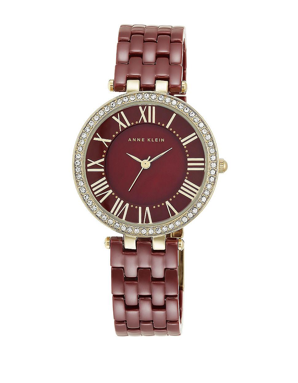 Anne klein swarovski crystal and ceramic bracelet watch in purple lyst for Anne klein swarovski crystals
