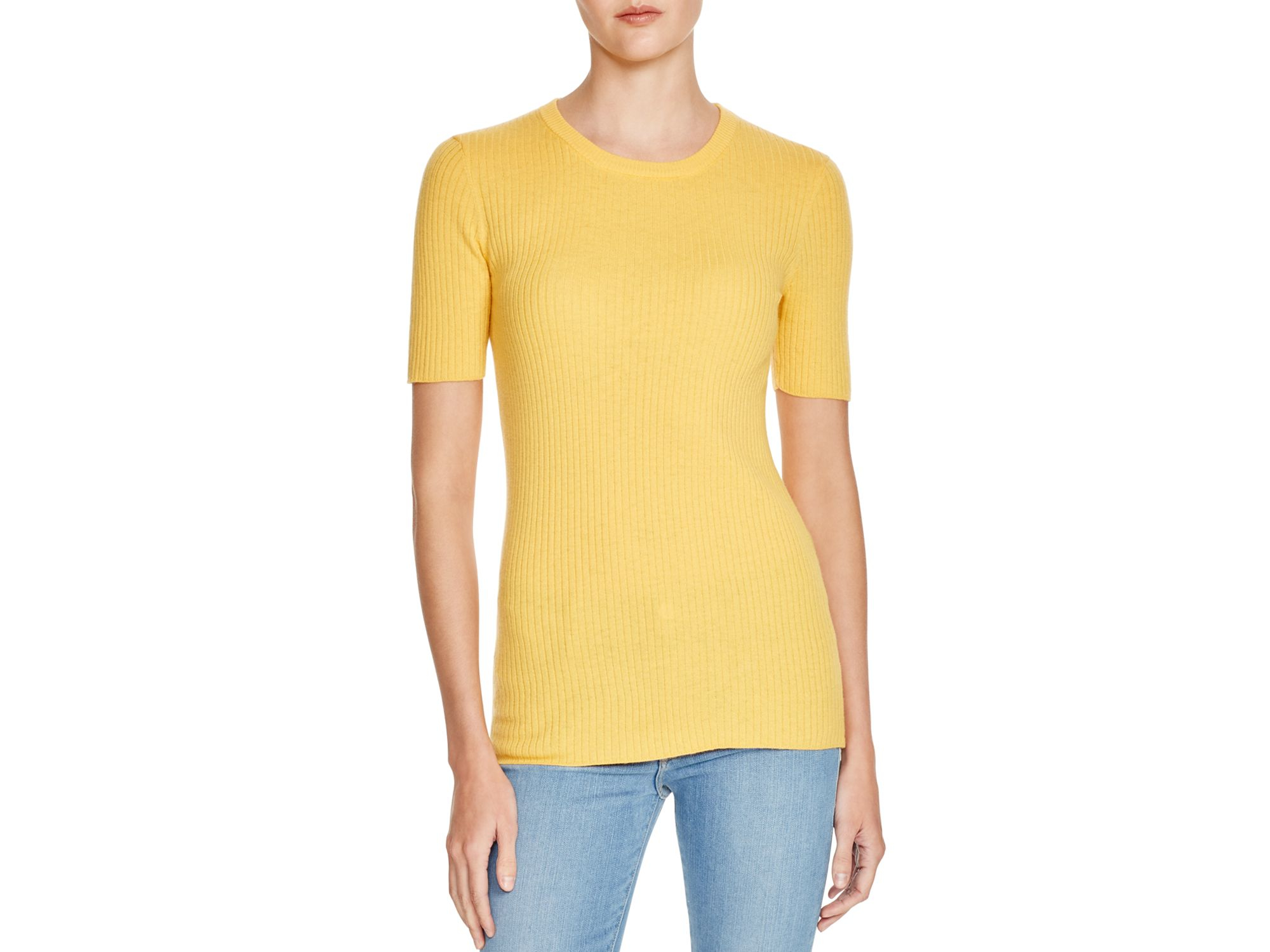 Frame Le Crew Ribbed Cotton Sweater in Yellow | Lyst