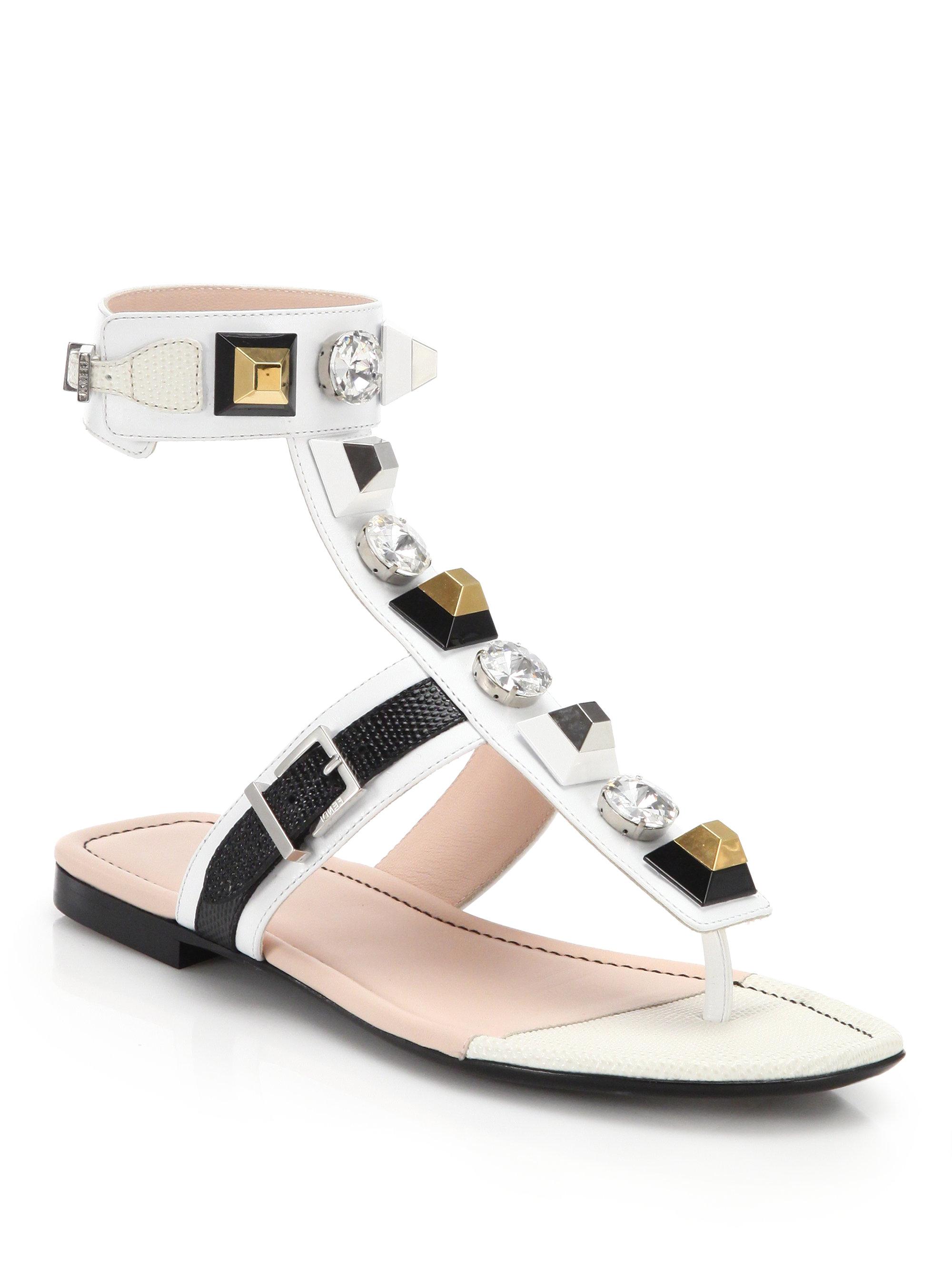 17198bf09900 Lyst - Fendi Embellished Leather Sandals
