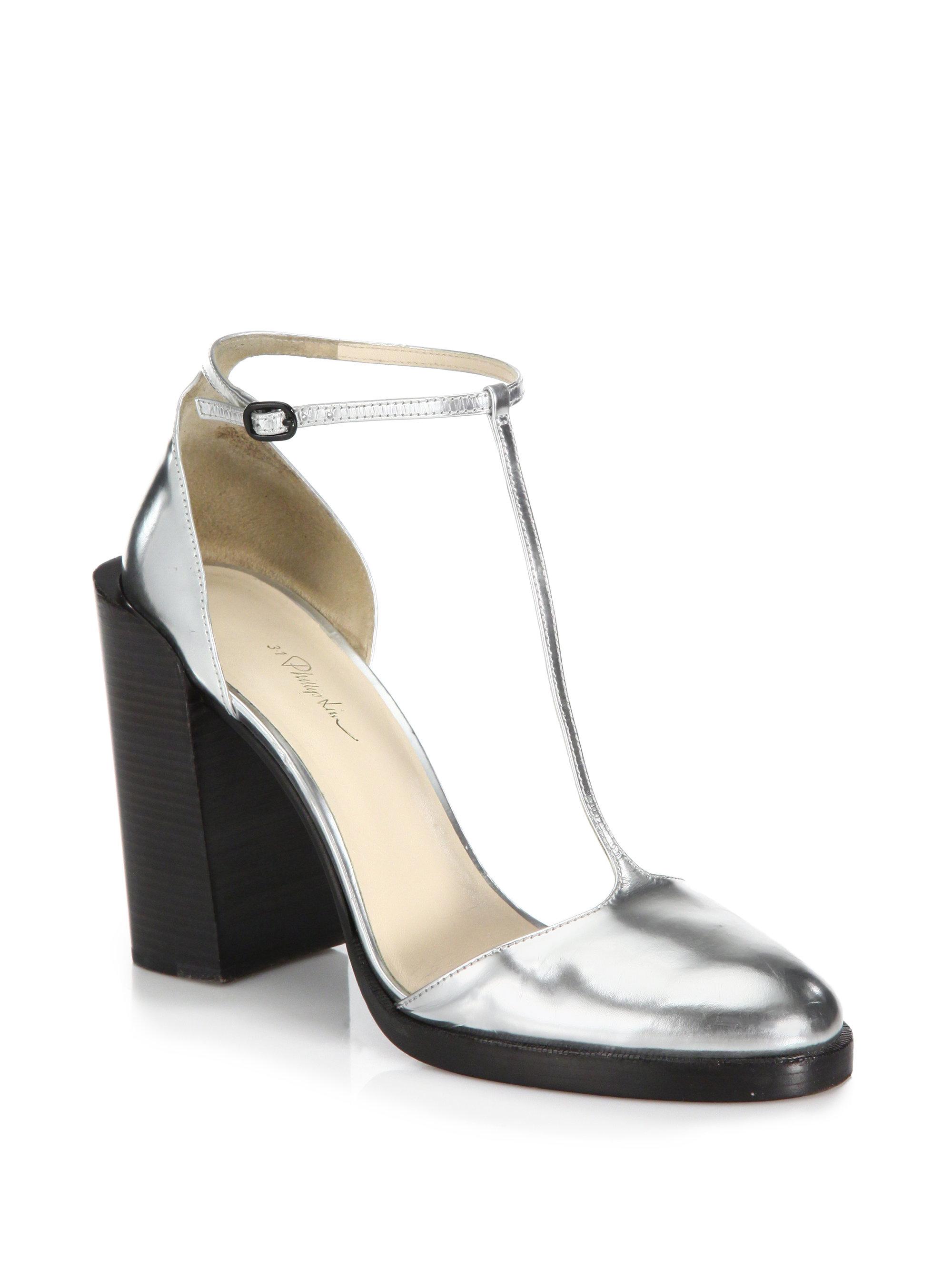 3 1 phillip lim augustine metallic leather t strap pumps in silver lyst. Black Bedroom Furniture Sets. Home Design Ideas