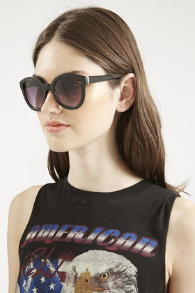 Preppy Sunglasses  top lea cut out preppy sunglasses in black lyst