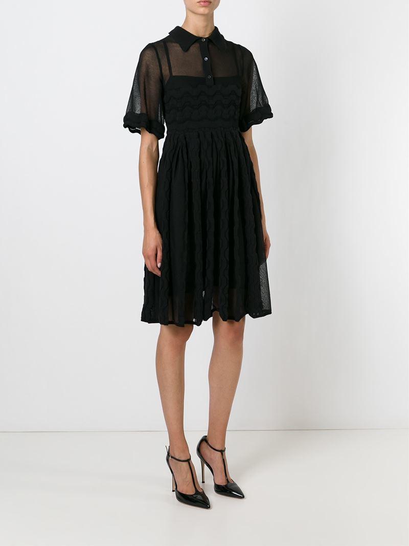 M missoni Sheer Polo Shirt Dress in Black   Lyst
