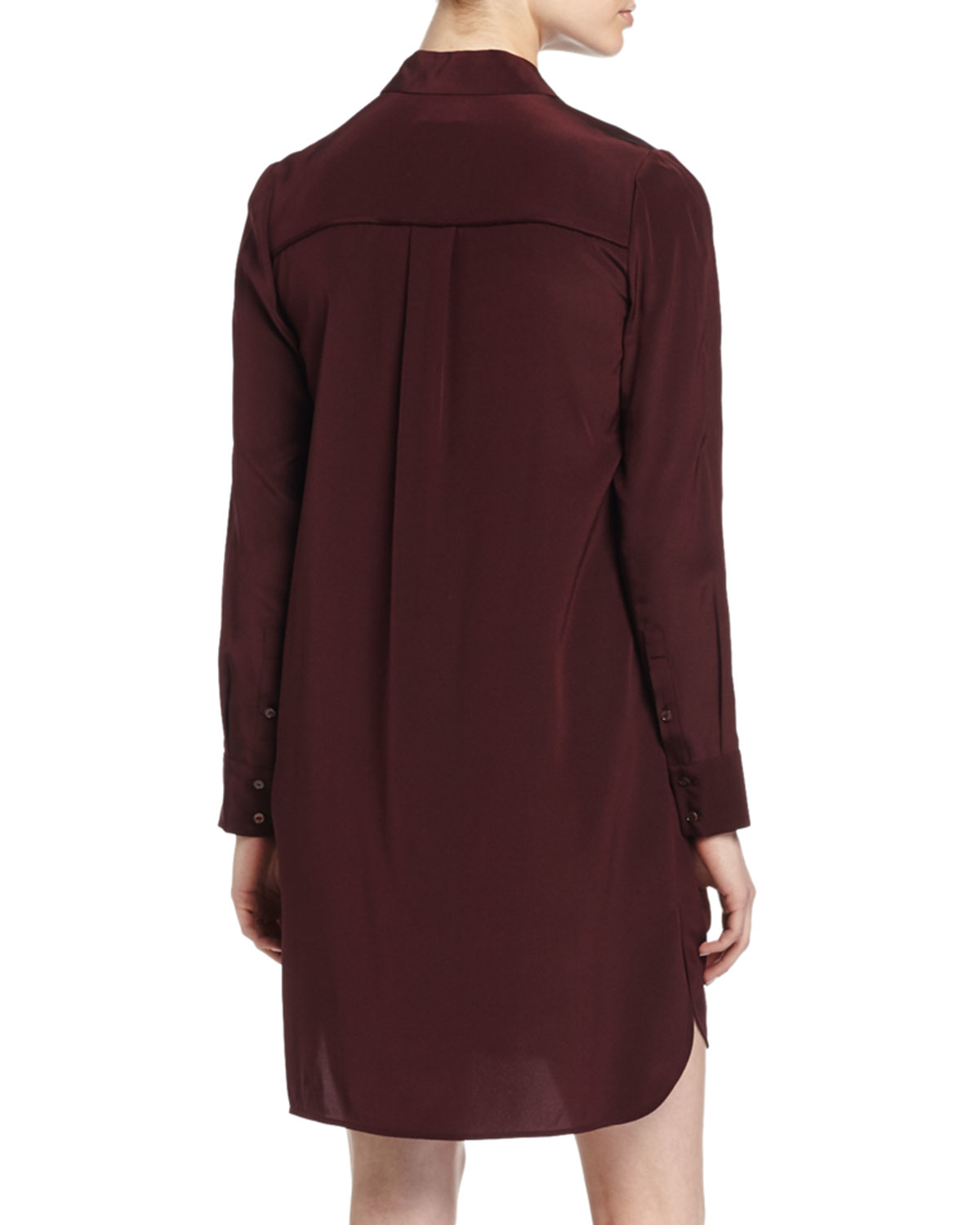 Vince Long Sleeve Silk Shirtdress In Red Lyst