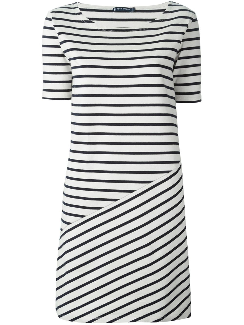 Petit bateau striped knit dress in black lyst for Petit bateau striped shirt