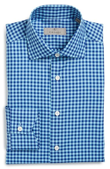 Lyst canali regular fit check dress shirt in blue for men for Blue check dress shirt