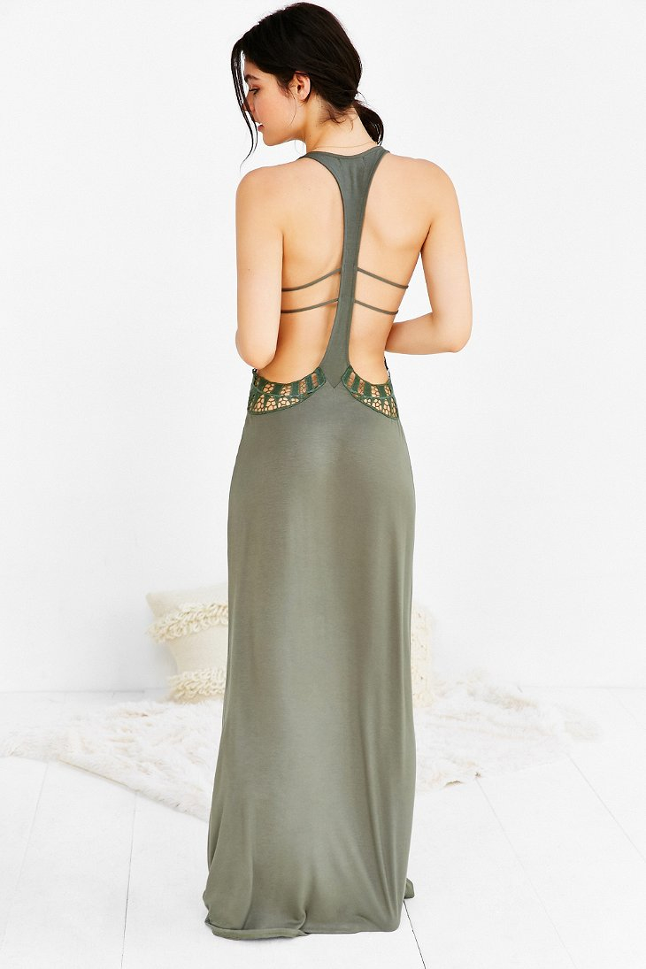 Lyst Staring At Stars Crochet Cutout Cover Up Maxi Dress In Green