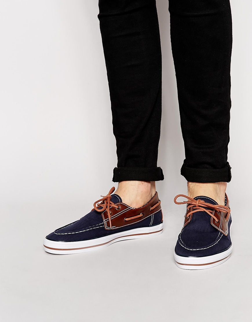 lyst asos boat shoes in navy canvas with details in