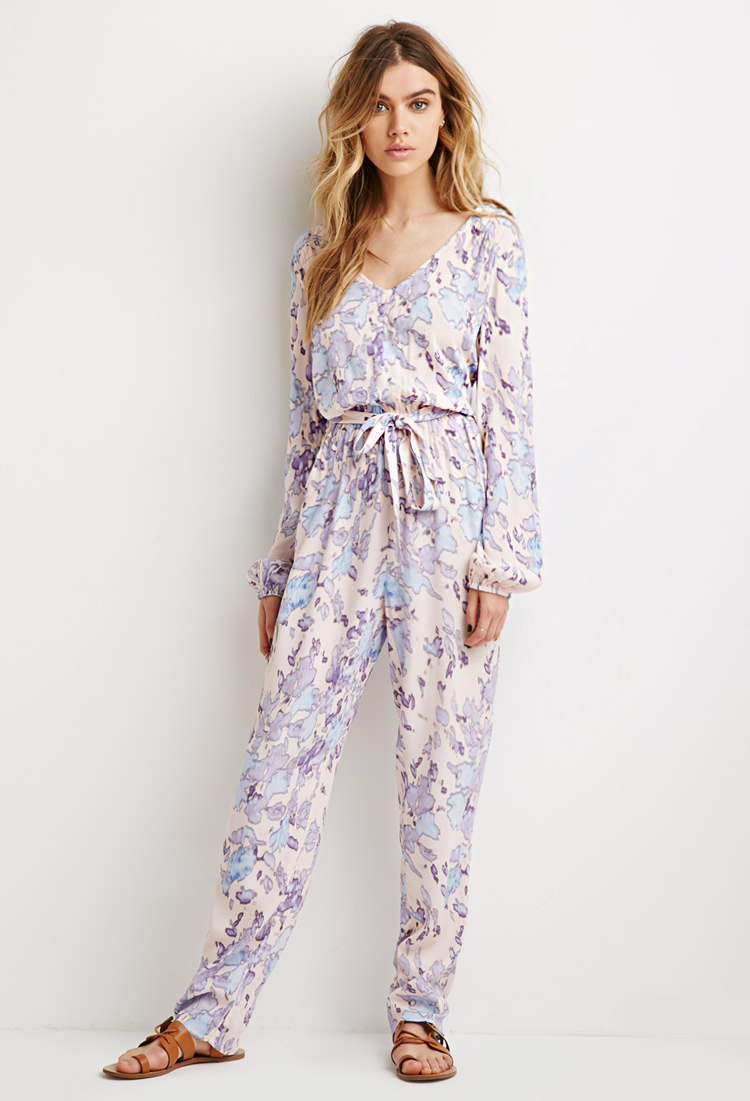 a2539c75b59 Lyst - Forever 21 Belted Abstract Print Jumpsuit in Blue