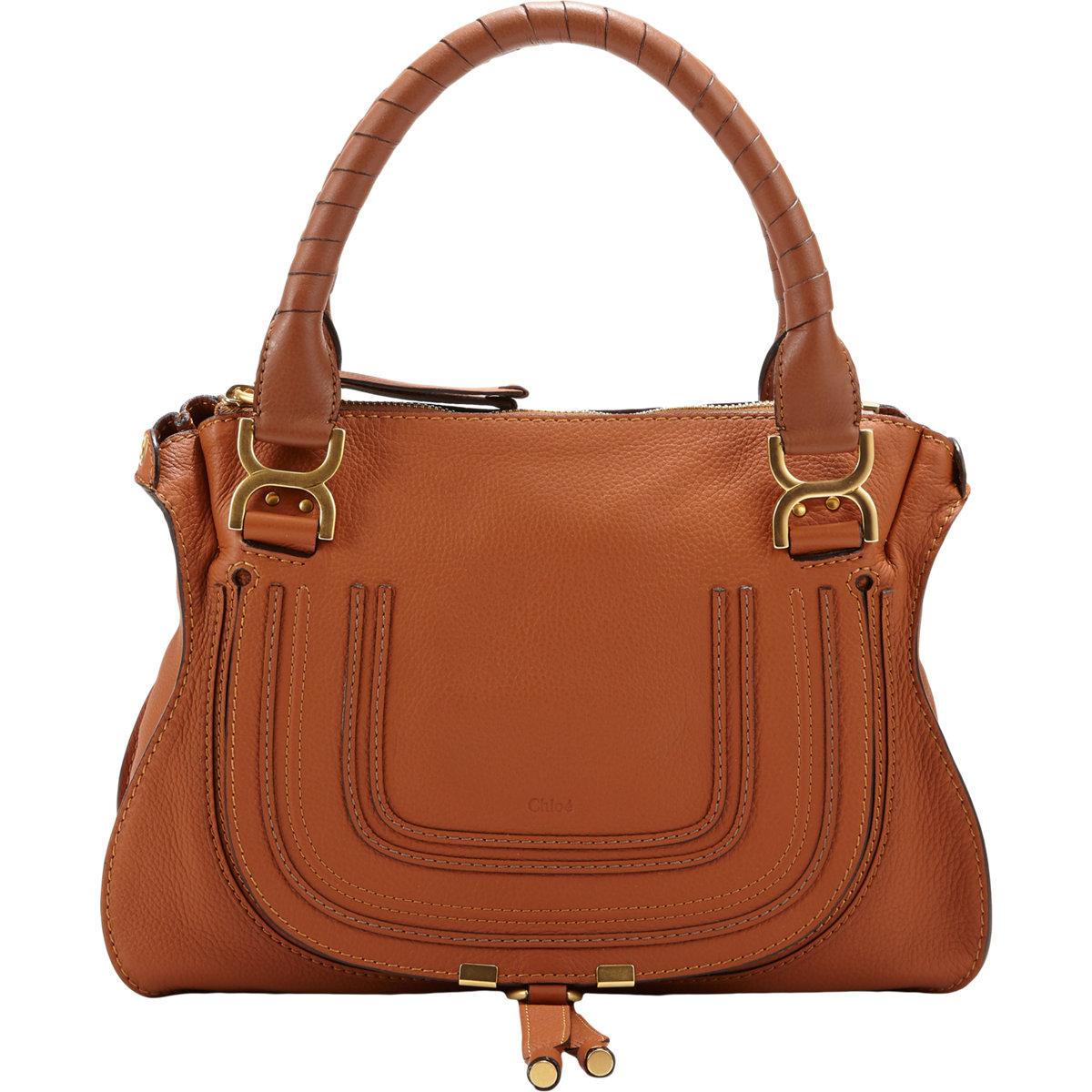 chlo marcie medium leather satchel in brown lyst. Black Bedroom Furniture Sets. Home Design Ideas