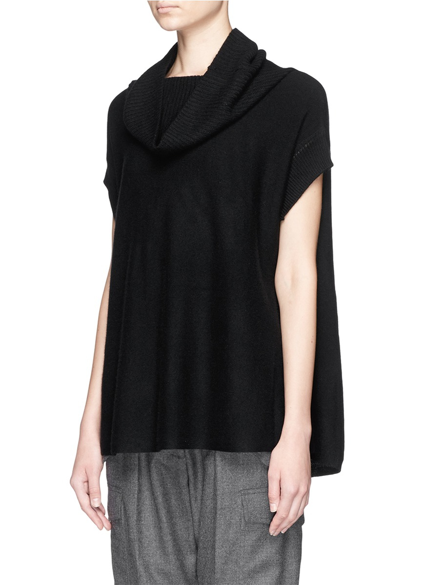 Vince Cowl Neck Cashmere Sleeveless Sweater in Black | Lyst