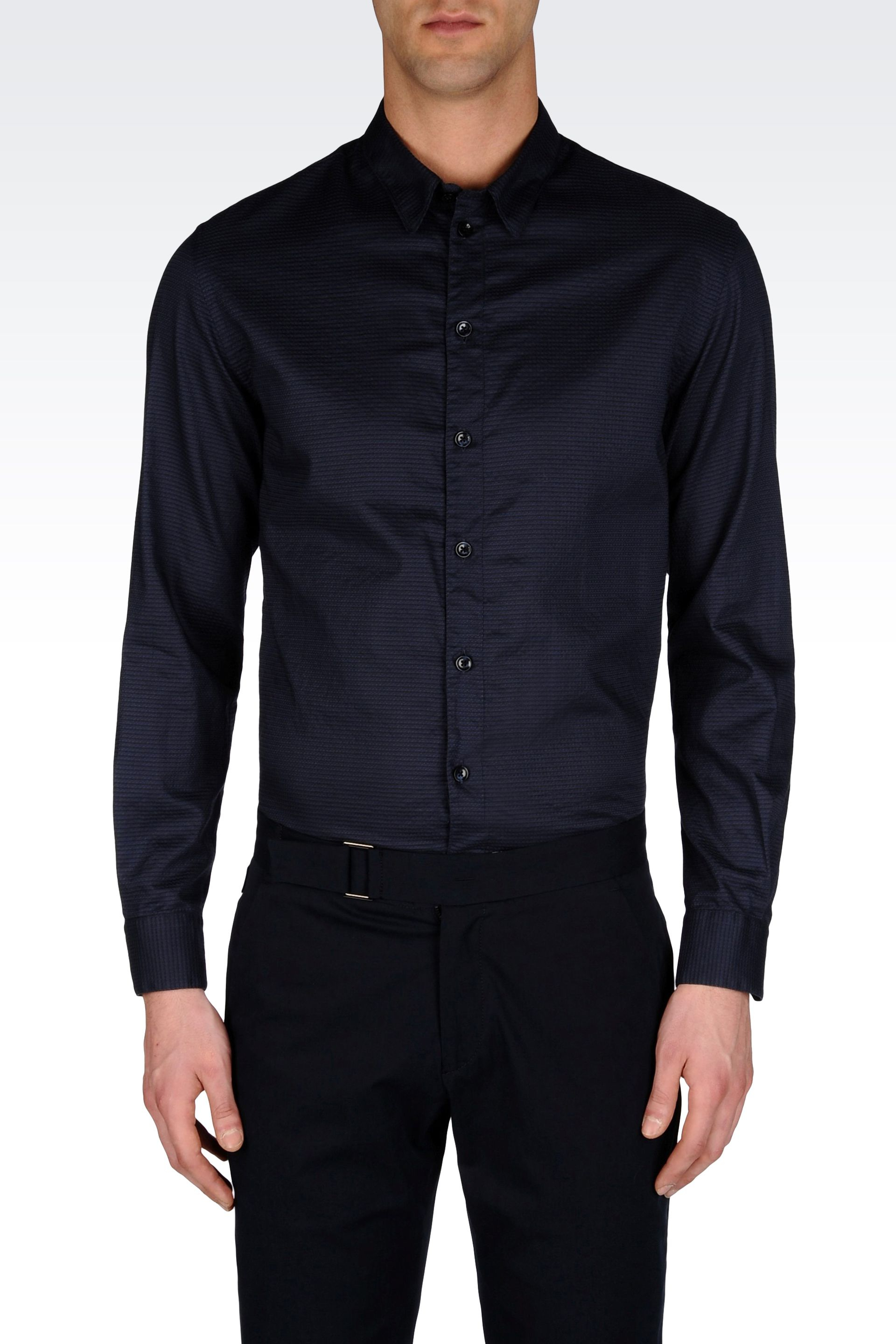 Armani shirt in printed cotton with soft collar in blue for Soft cotton dress shirts