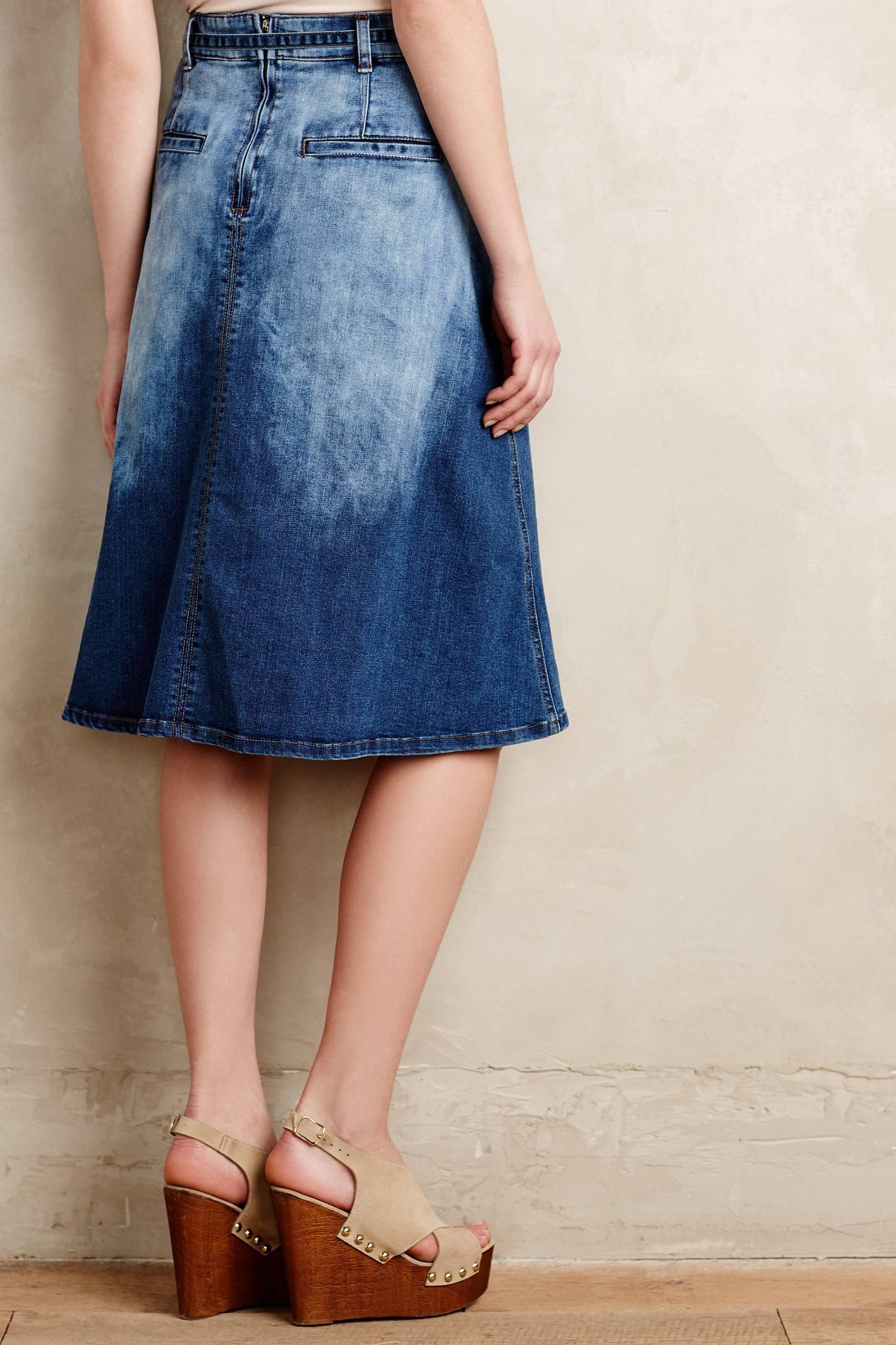 Pilcro Distressed Denim Midi Skirt in Blue | Lyst