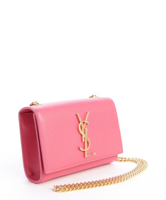 Saint laurent Pink Leather Ysl Chain Shoulder Bag in Pink | Lyst